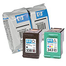 HP C8765ee (338) / C8766EE (343) Special Purchase Original Black & Colour Ink Cartridge Pack