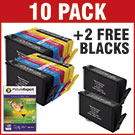 "HP 364xl Compatible High Capacity Black & Colour 10 Ink Cartridge Pack + 50 Sheets 240g 4""x6"" Photo Paper + 2 x FREE Black Cartridge  SAVE £ 24.92"