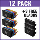 HP 364XL Compatible Black & Colour Ink Cartridge 12 Ink Cartridge Pack + 3 x FREE Black Cartridges *Super Bundle*